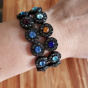 Jet tone Multicolored Rhinestone stretch Bracelet